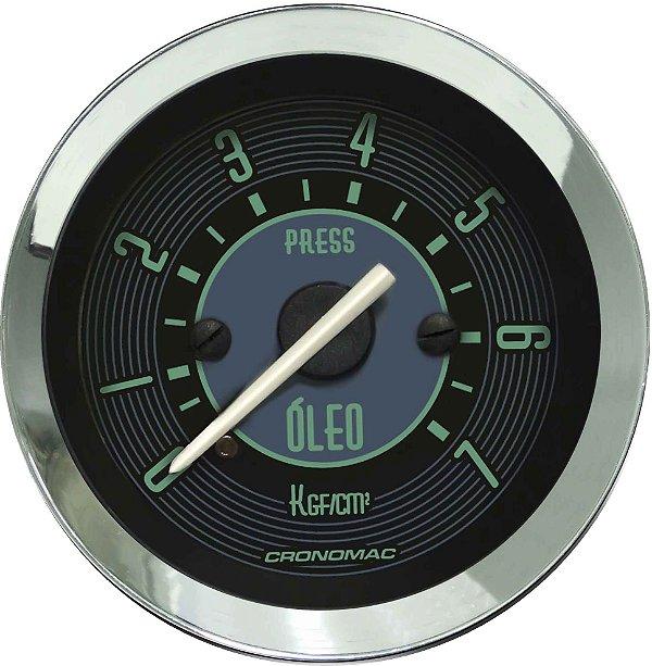 Manômetro Óleo 7KGF/CM² Mecânico ø52mm Fusca Verde | Cronomac