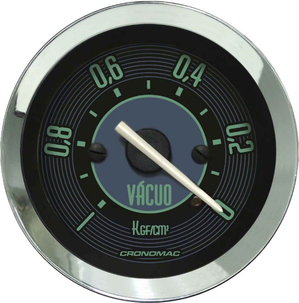 Vacuômetro Com Faixa ø52mm Fusca Verde Cronomac