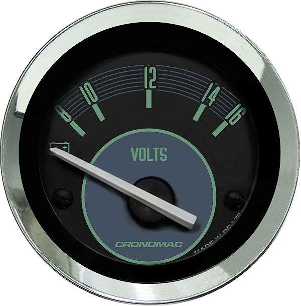 Voltímetro ø52mm 12 Volts Fusca Verde   Cronomac