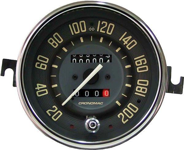 Velocimetro Fusca 110mm 2 Odometros e Sinaleira Original Cronomac 200km/h VW Bege
