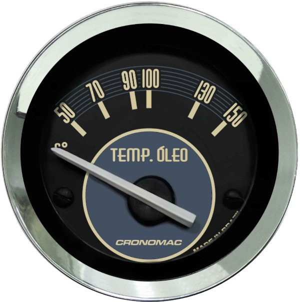 Termômetro Óleo ø52mm 12V com Sensor Fusca Bege | Cronomac