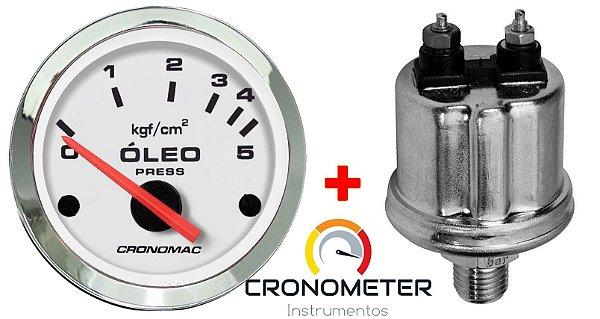 Manômetro Óleo 5KGF/CM² Elétrico 12 Volts  COM Sensor ø52mm Cromado/Branco  Cronomac