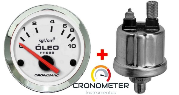 Manômetro Óleo 10KGF/CM² Elétrico 12 Volts  COM Sensor ø52mm Cromado/Branco| Cronomac