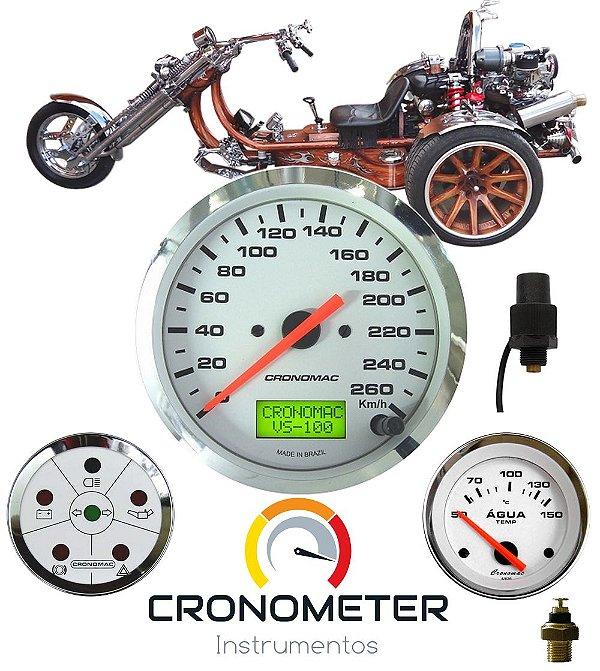 Painel Triciclo Mini com Velocímetro Eletrônico Cromado Branco | Cronomac