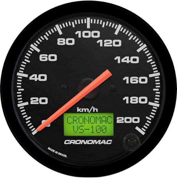 Velocímetro 200km/h ø100mm Eletrônico Street/Preto  Cronomac