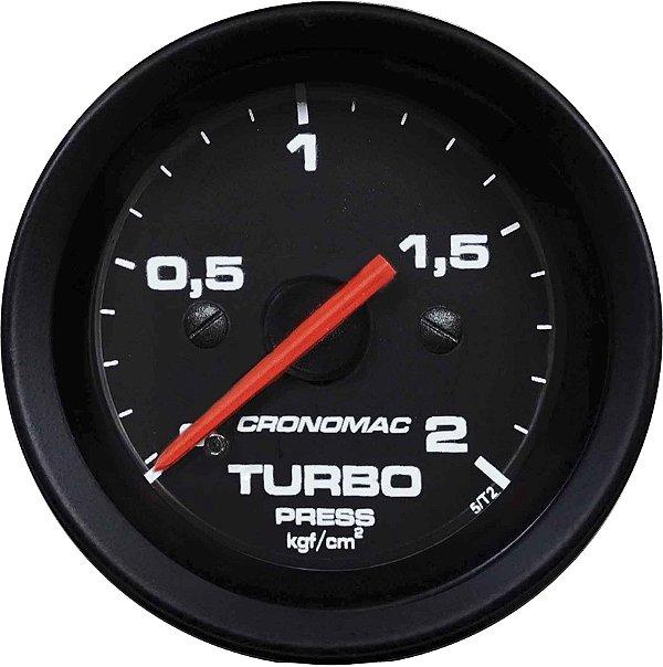 Manômetro Turbo 2KGF/CM² ø52mm Street/Preto   Cronomac
