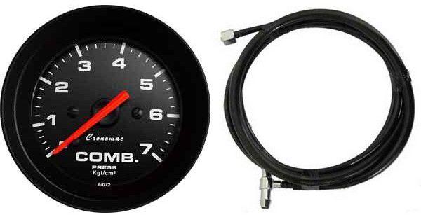 Manômetro Combustível 7KGF/CM² ø52mm COM MANGUEIRA 1,80M Street/Preto   Cronomac