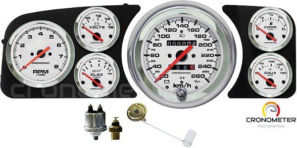 Painel Fusca 260km/h Cronomac Completo com Sensor e Boia de Braço - Branco