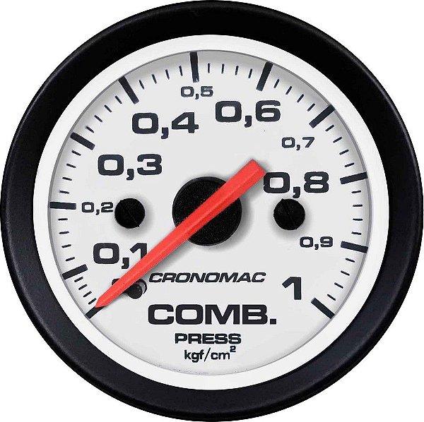 Manômetro Combustível 1KGF/CM² ø52mm Street/Branco   Cronomac
