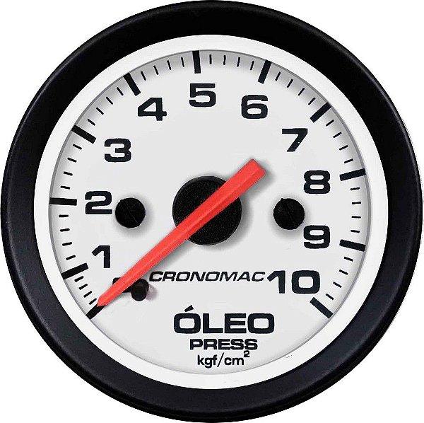 Manômetro Óleo 10KGF/CM² Mecânico ø52mm Street/Branco| Cronomac
