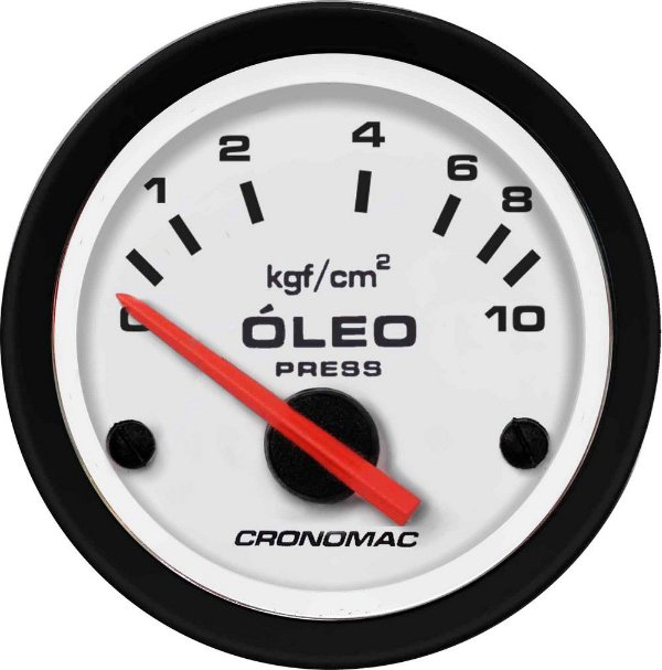 Manômetro Óleo Elétrico 12 Volts 10KGF/CM² ø52mm Street/Branco   Cronomac