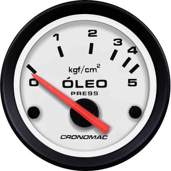 Manômetro Óleo Elétrico 12 Volts 5KGF/CM² ø52mm Street/Branco| Cronomac