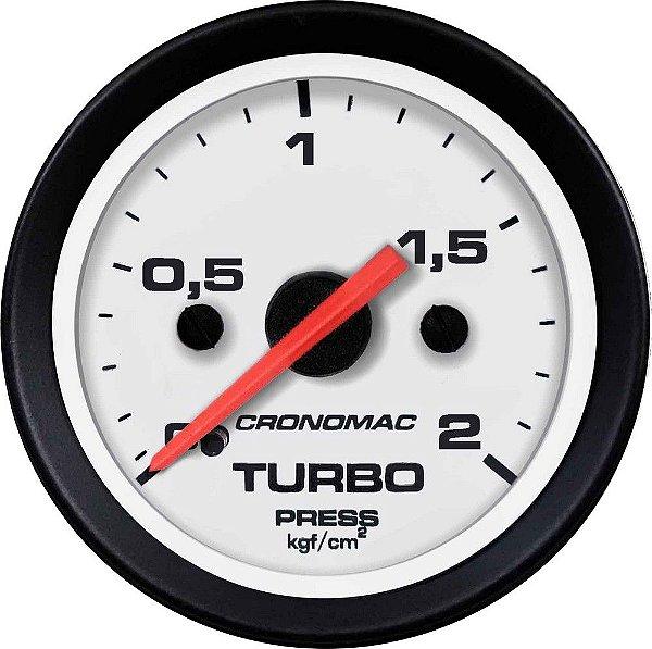 Manômetro Turbo 2KGF/CM² ø52mm Street/Branco  Cronomac