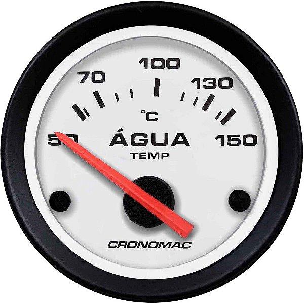 Termômetro Água ø52mm 12V com Sensor Street/Branco| Cronomac