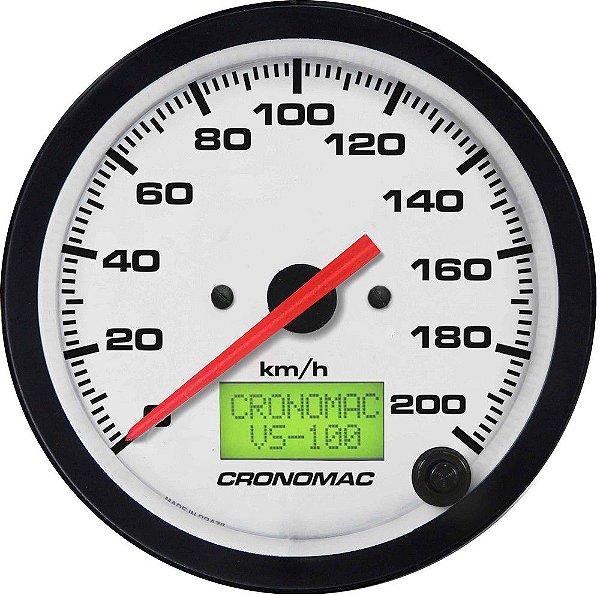 Velocímetro 200km/h ø100mm Eletrônico Street/Branco| Cronomac