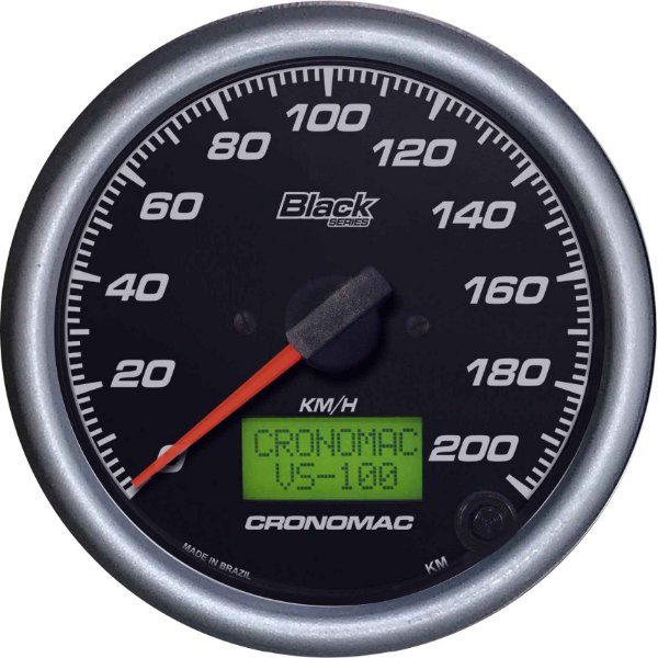 Velocímetro 200km/h ø100mm Eletrônico Black Series   Cronomac