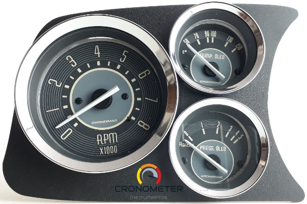 Painel Fusca L.E. Contagiro/Termômetro do Óleo/Pressão do Óleo COM Sensor - Bege   Cronomac