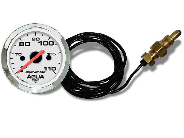 Termômetro Água ø52mm MECÂNICO Cabo 2 Metros Cromado/Branco | Cronomac