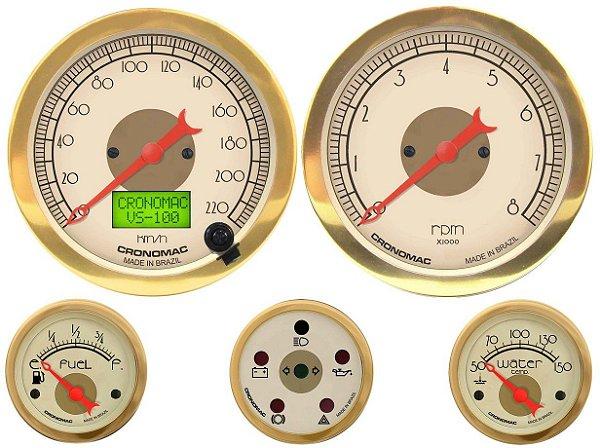 KIT 5 Instrumentos ø100mm/52mm c/ Velocímetro Eletrônico com Motor Gasolina Hot Gold   Cronomac