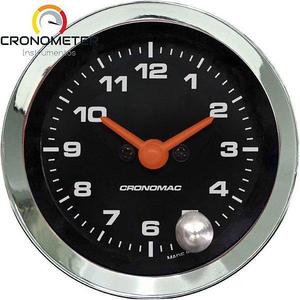 Relógio de Horas ø52mm - Cromado Preto Cronomac