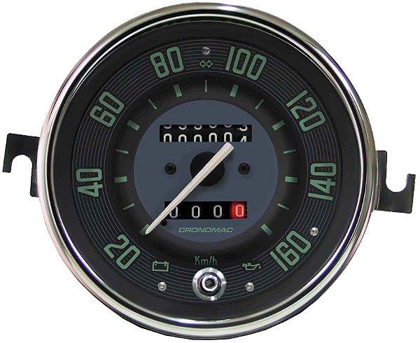 Velocimetro Fusca 110mm 2 Odometros e Sinaleira Original Cronomac 160km/h VW Verde