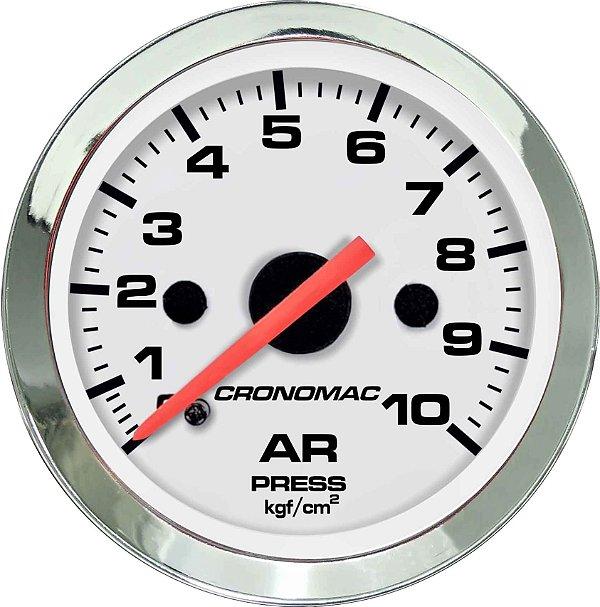 Manômetro de Ar 10KGF/CM² ø52mm Cromado/Branco| Cronomac