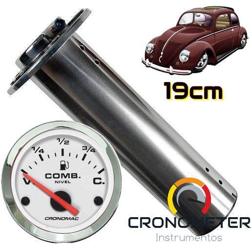 Indicador de Combustível com Boia Tubular 19cm Fusca Tanque Normal V=70/C=7 Cromado/Branco