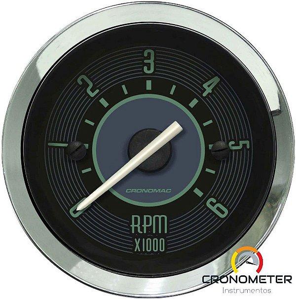 Contagiro 6000RPM ø52mm 2/4/6/8 Cil Fusca Verde  Cronomac