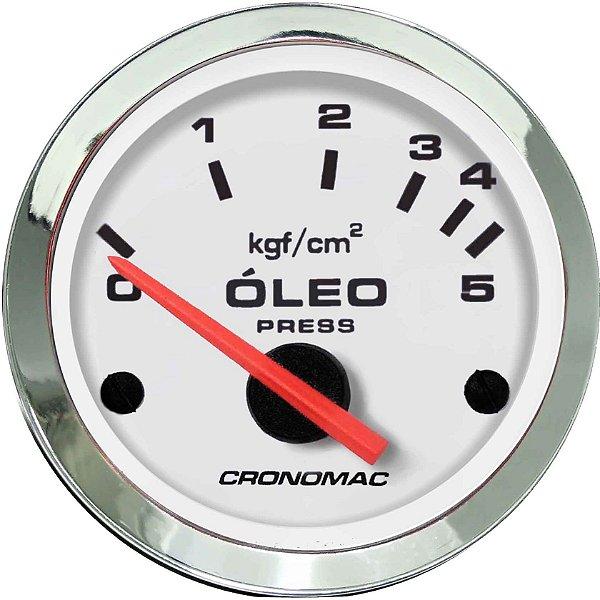 Manômetro Óleo 5KGF/CM² Elétrico 12 Volts ø52mm Cromado/Branco  Cronomac