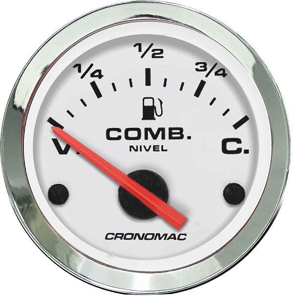 Indicador Nível de Combustível ø52mm 475 Cromado/Branco   Cronomac