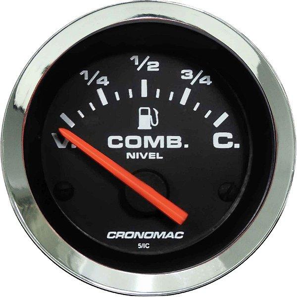 Indicador Nível de Combustível ø52mm 475 Cromado/Preto   Cronomac