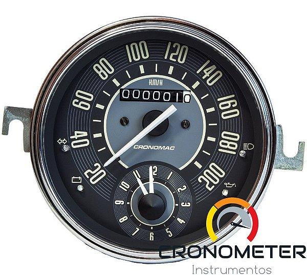 Velocimetro Fusca 110mm Original Cronomac 200km/h com Relógio Horas VW Bege