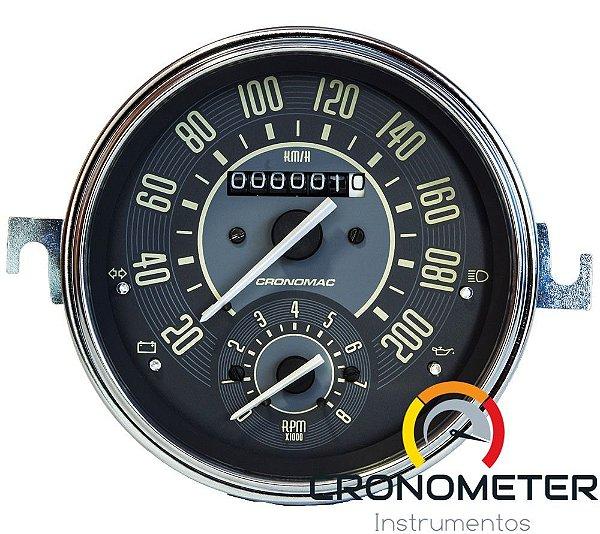 Velocimetro Fusca 110mm Original Cronomac 200km/h com Contagiro VW Bege