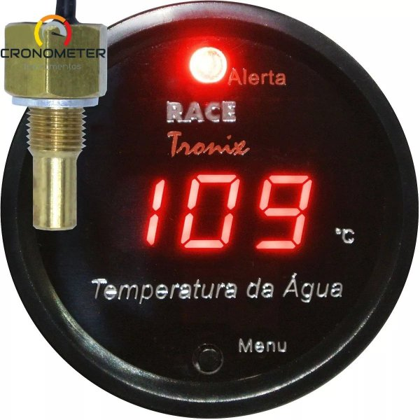 Medidor Temperatura da Água Digital 52mm Display Vermelho COM Sensor TH10
