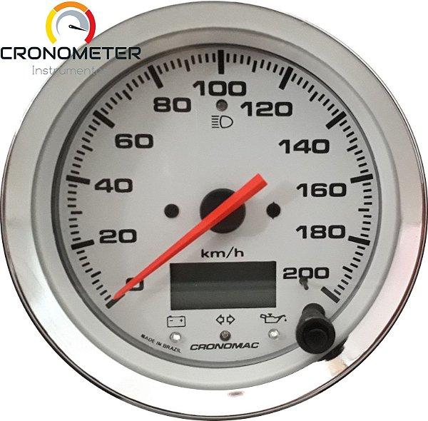 Velocímetro 200km/h ø100mm Eletrônico COM SINALEIRA Cromado/Branco| Cronomac