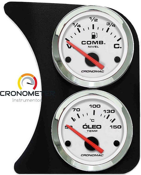 Painel Fusca L.D. Nível de Combustível e Temperatura Óleo - Branco  Cronomac