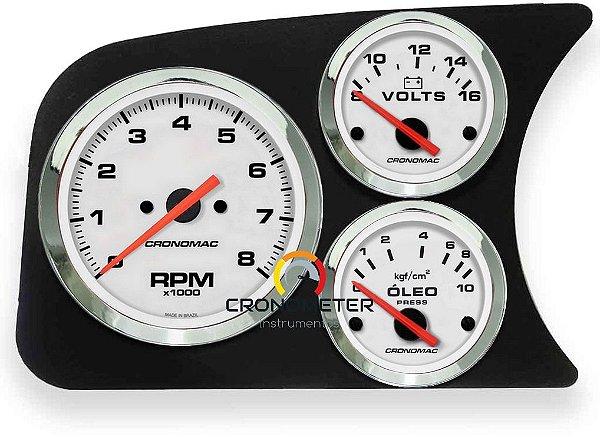 Painel Fusca L.E. Contagiro/Termômetro do Óleo/Pressão do Óleo 10kgf COM Sensor - Branco| Cronomac