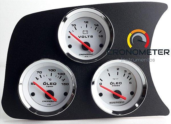 Painel Fusca L.E. Manômetro do Óleo 5kgf COM Sensor/Termômetro do Óleo/Voltímetro - Branco| Cronomac