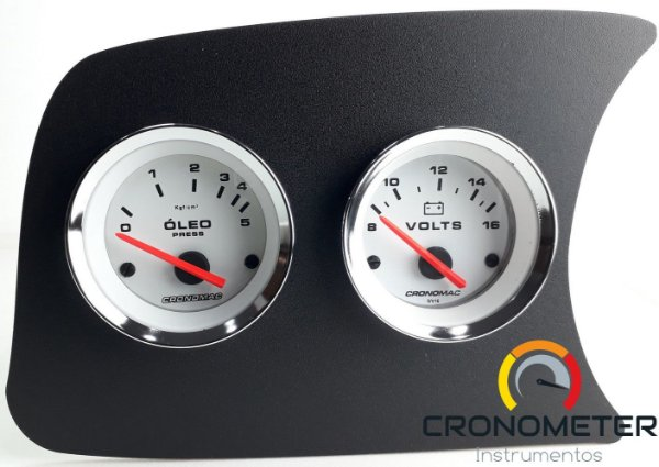 Painel Fusca L.E. Pressão do Óleo5kgf COM Sensor/Voltímetro - Branco| Cronomac