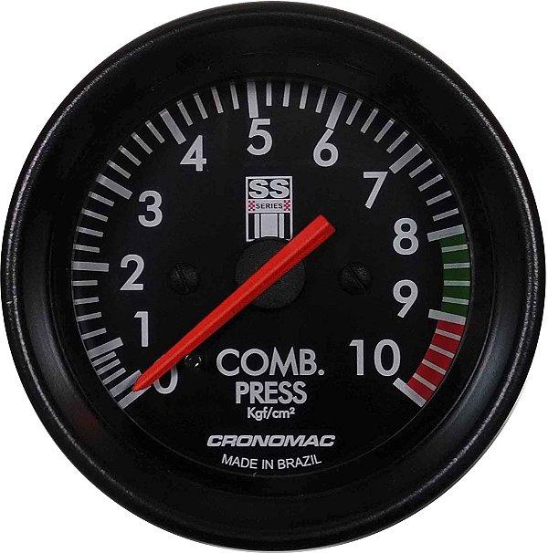 Manômetro Combustível 10KGF/CM² Mecânico ø60mm Opala SS Series | Cronomac