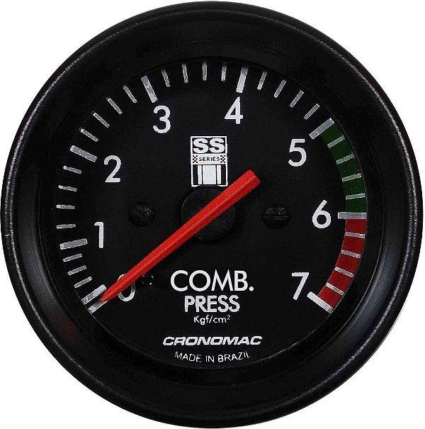 Manômetro Combustível 7KGF/CM² Mecânico ø60mm Opala SS Series   Cronomac