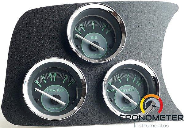 Painel Fusca L.E. Voltímetro/Termômetro do Óleo/Pressão do Óleo COM Sensor - Verde | Cronomac