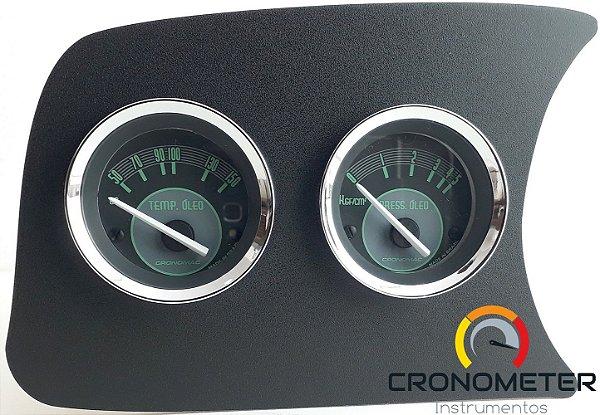 Painel Fusca L.E. Temperatura do Óleo/Pressão do Óleo Com Sensor - Verde | Cronomac