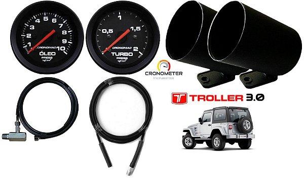 Kit Manômetro de Óleo e Turbo Troller MWM 3.0 com mangueira e copo plástico | Cronomac