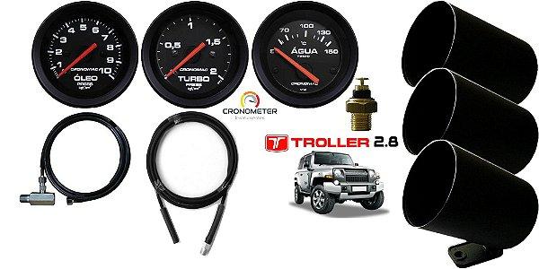 Kit Manômetro de Óleo / Turbo / Temperatura Água Elétrico Troller MWM 2.8 com mangueira e copo plástico | Cronomac