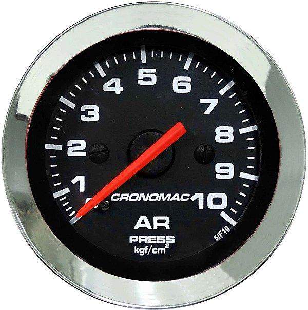 Manômetro de Ar 10KGF/CM² ø52mm Cromado/Preto | Cronomac