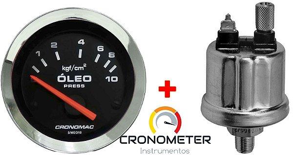 Manômetro Óleo 10KGF/CM² Elétrico 12 Volts COM Sensor ø52mm Cromado/Preto| Cronomac