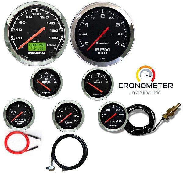 Kit 7 Instrumentos Linha Diesel - Velocímetro Eletrônico e Termômetro Mecânico e Manômetro Óleo - Cromado/Preto  Cronomac (408)
