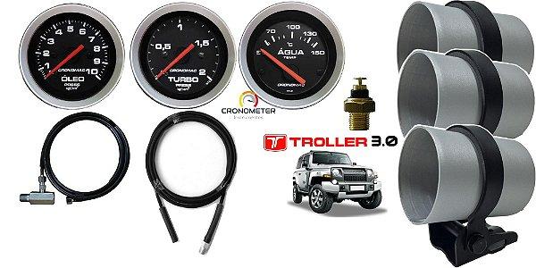 Kit Manômetro de Óleo / Turbo / Temperatura Água Elétrico Troller MWM 3.0 com mangueira e copo Alumínio  Cronomac SPORT