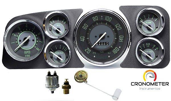 Painel Fusca 160km/h Cronomac Completo COM Sensores e Boia de Braço - Verde